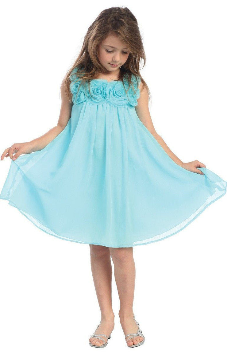 Short Girls Dresses with Rosettes - 6 Colors-Girls Formal Dresses-ABC Fashion