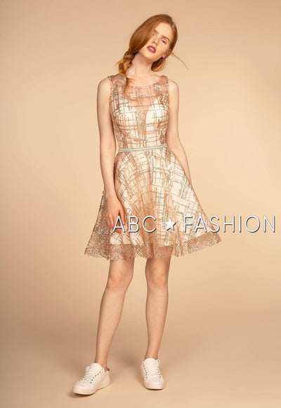 Short Glitter Mesh Sleeveless Dress by Elizabeth K GS1628-Short Cocktail Dresses-ABC Fashion