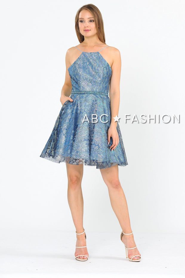 Short Glitter Print Dress with Pockets by Poly USA 8410-Short Cocktail Dresses-ABC Fashion