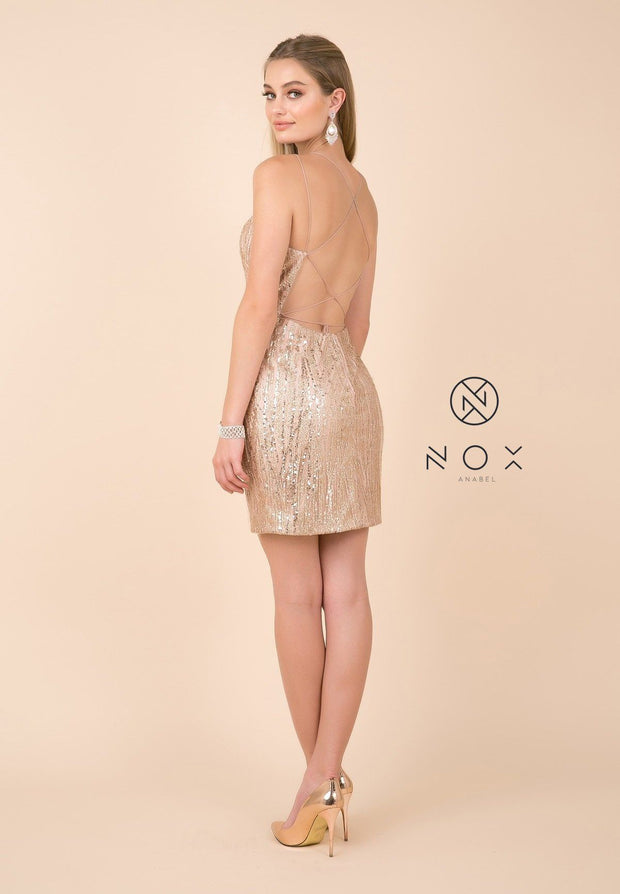 Short Glitter Print Dress with Strappy Back by Nox Anabel T680-Short Cocktail Dresses-ABC Fashion