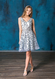 Short Glitter Print V-Neck Dress by Calla Collection
