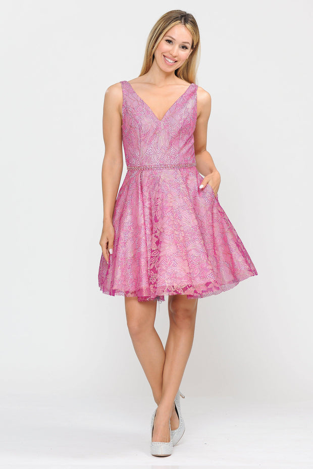 Short Glitter Print V-Neck Dress with Pockets by Poly USA 8504-Short Cocktail Dresses-ABC Fashion