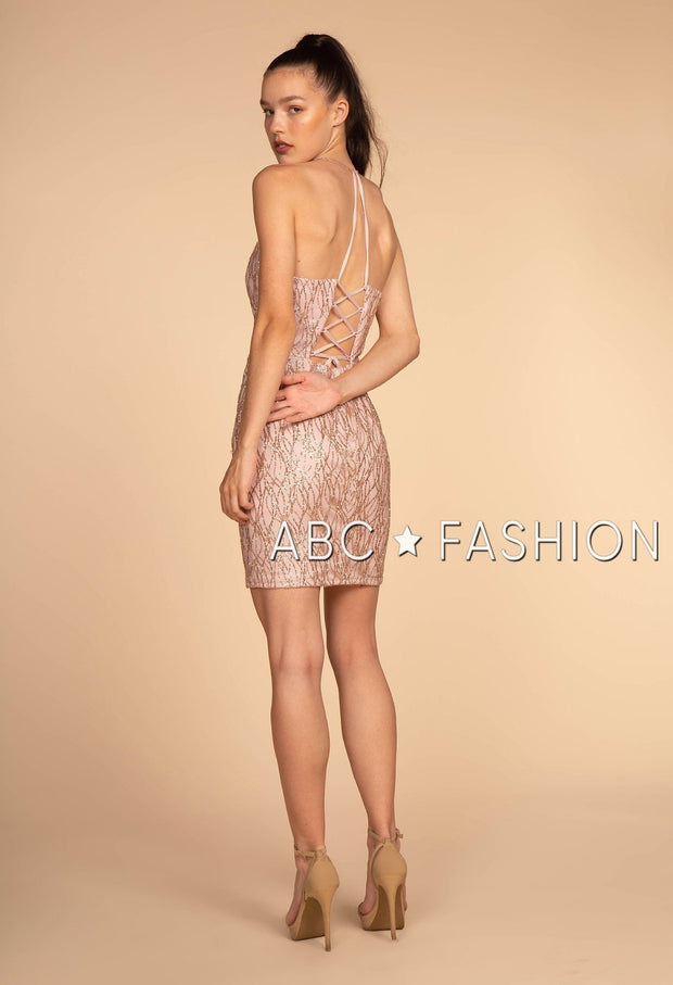 Short Glitter V-Neck Dress with Corset Tie by Elizabeth K GS1634-Short Cocktail Dresses-ABC Fashion