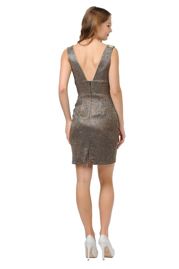 Short Glitter V-Neck Dress with Open Back by Poly USA 8212-Short Cocktail Dresses-ABC Fashion