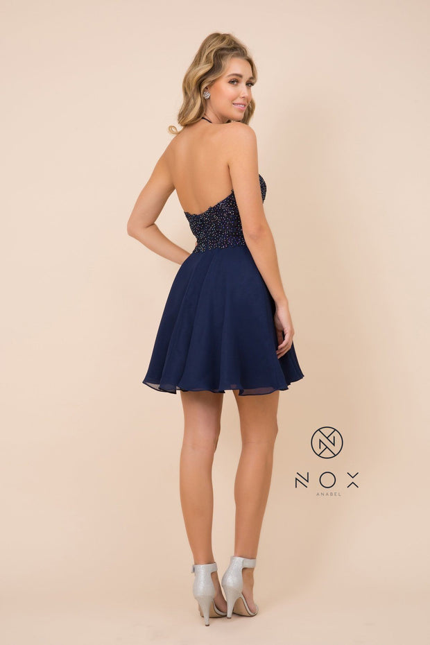 Short Halter Dress with Applique Bodice by Nox Anabel G657
