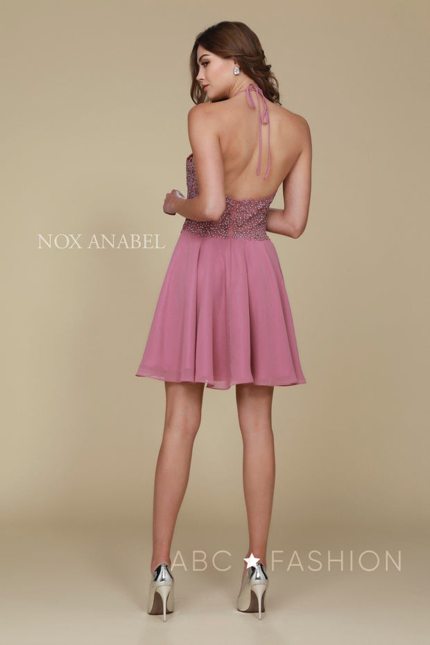 Short Halter Dress with Applique Bodice by Nox Anabel G657-Short Cocktail Dresses-ABC Fashion