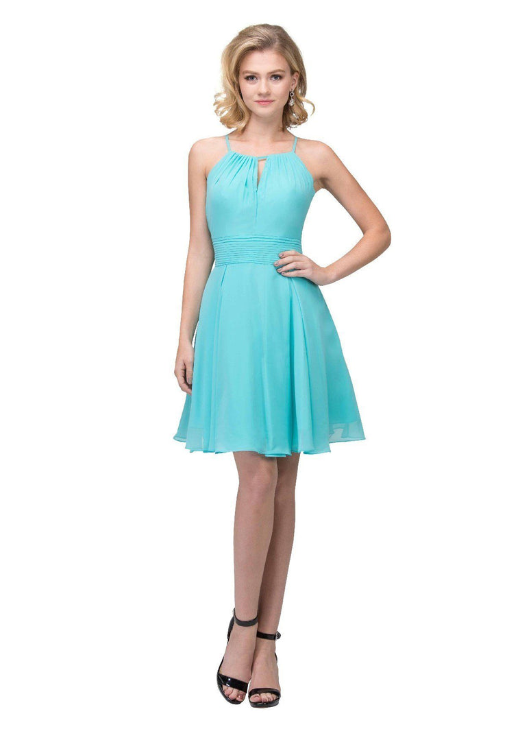 Short Halter Dress with Keyhole Neckline by Star Box 17293-Short Cocktail Dresses-ABC Fashion