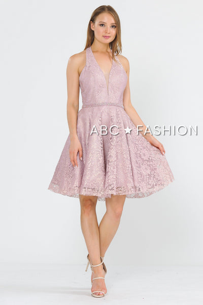 Short Halter Lace Dress with Open Back by Poly USA 8428-Short Cocktail Dresses-ABC Fashion