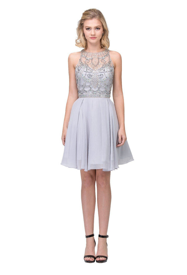 Short High-Neck Dress with Beaded Illusion Bodice by Star Box 17255-Short Cocktail Dresses-ABC Fashion