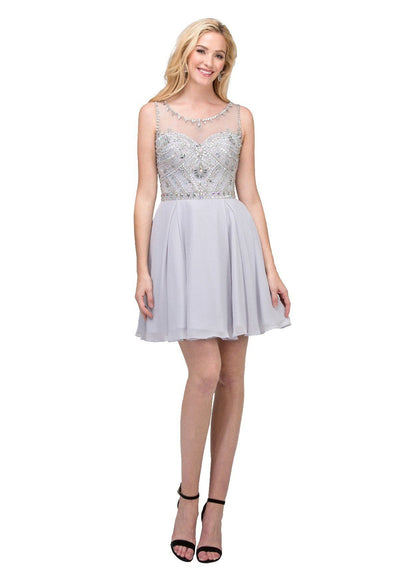 Short Illusion Dress with Beaded Bodice by Star Box 17253-Short Cocktail Dresses-ABC Fashion