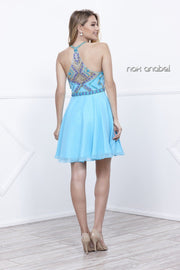 Short Illusion Dress with Pastel Beaded Top by Nox Anabel 6238-Short Cocktail Dresses-ABC Fashion