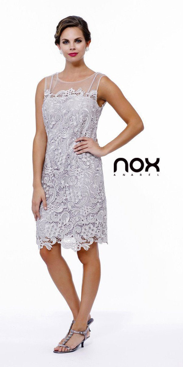 Short Illusion Lace Dress with Jacket by Nox Anabel 5100-Short Cocktail Dresses-ABC Fashion