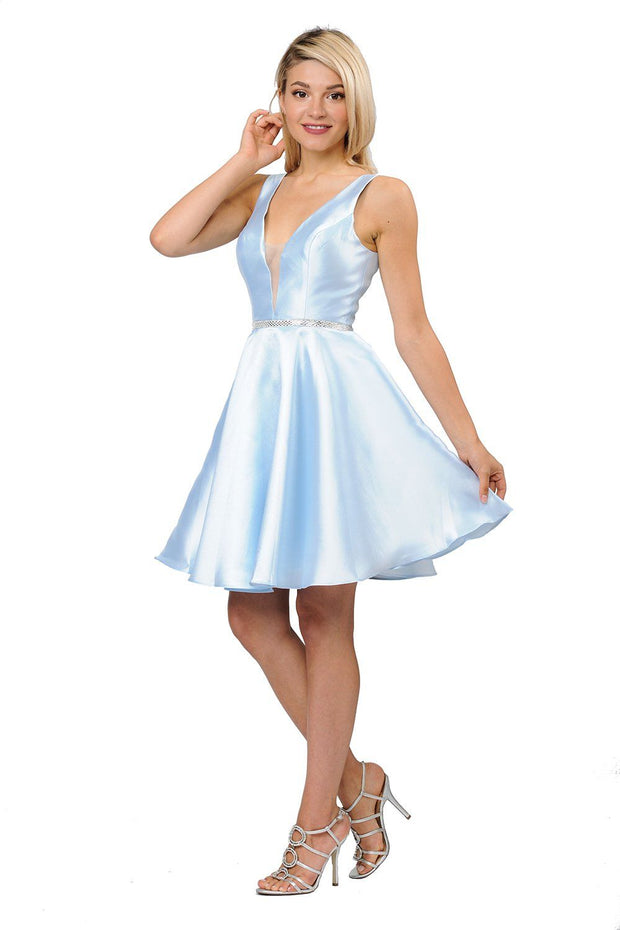 Short Illusion V-Neck Mikado Dress by Poly USA 7894