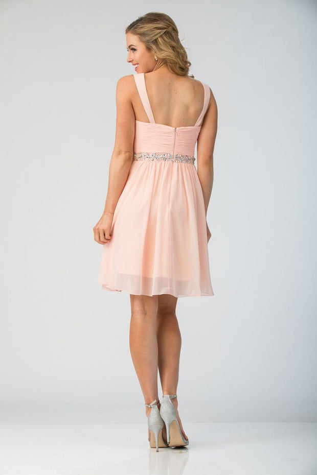 Short Knee Length Chiffon Dress with Beaded Waist by Star Box 6424-Short Cocktail Dresses-ABC Fashion