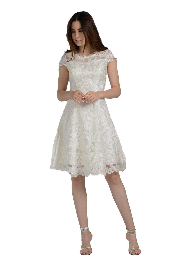 Short Knee Length Lace Dress with Short Sleeves by Poly USA 8090-Short Cocktail Dresses-ABC Fashion