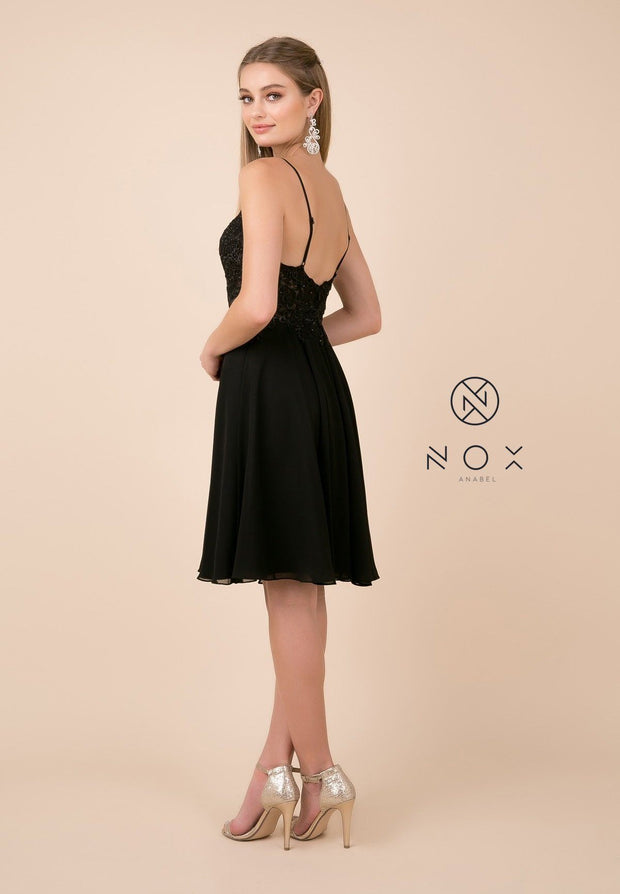 Short Knee Length V-Neck Dress with Appliques by Nox Anabel A660-Short Cocktail Dresses-ABC Fashion