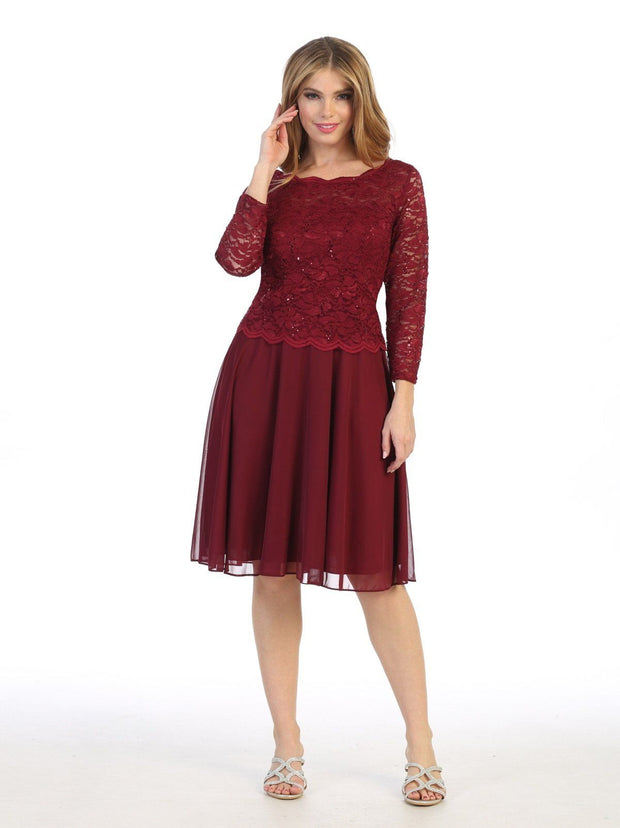 Short Lace Bodice Dress with 3/4 Sleeves by Celavie 6426S
