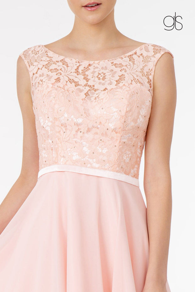 Short Lace Bodice Dress with Corset Back by Elizabeth K GS2807
