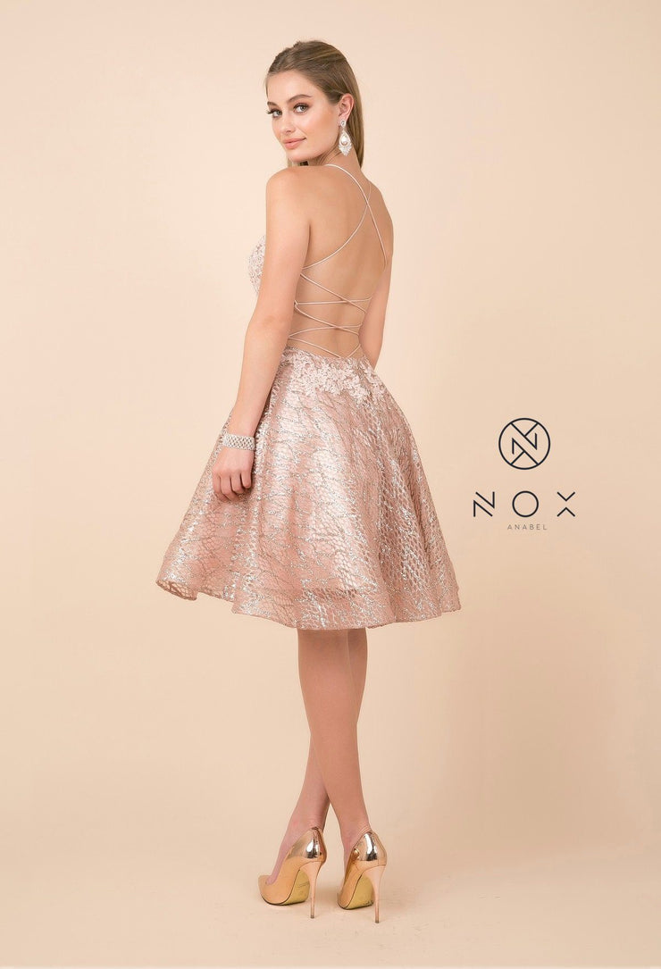 Short Lace Bodice Dress with Glitter Skirt by Nox Anabel R682-Short Cocktail Dresses-ABC Fashion