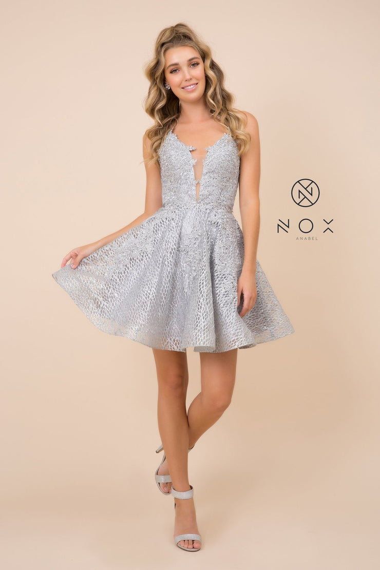 Short Lace Bodice Dress with Glitter Skirt by Nox Anabel R682
