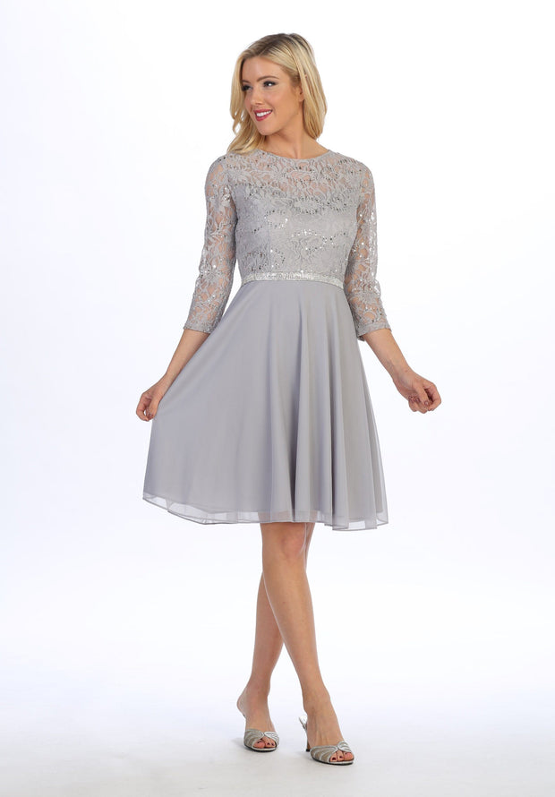 Short Lace Bodice Dress with Long Sleeves by Celavie 6305-S-Short Cocktail Dresses-ABC Fashion
