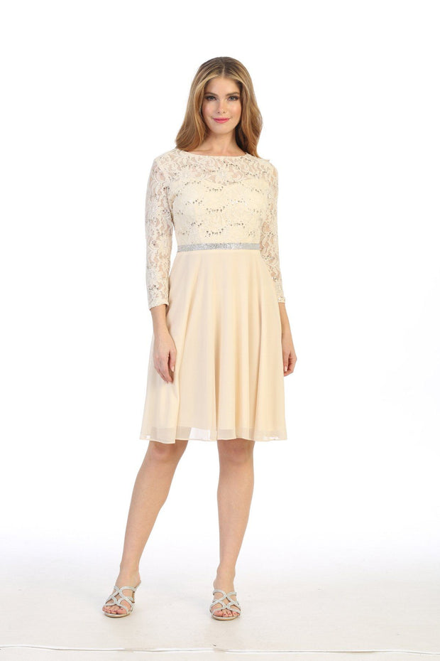 Short Lace Bodice Dress with Long Sleeves by Celavie 6305-S