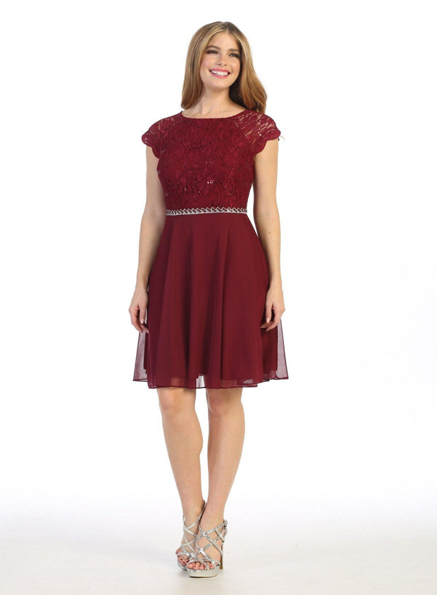 Short Lace Bodice Dress with Short Sleeves by Celavie 6394S