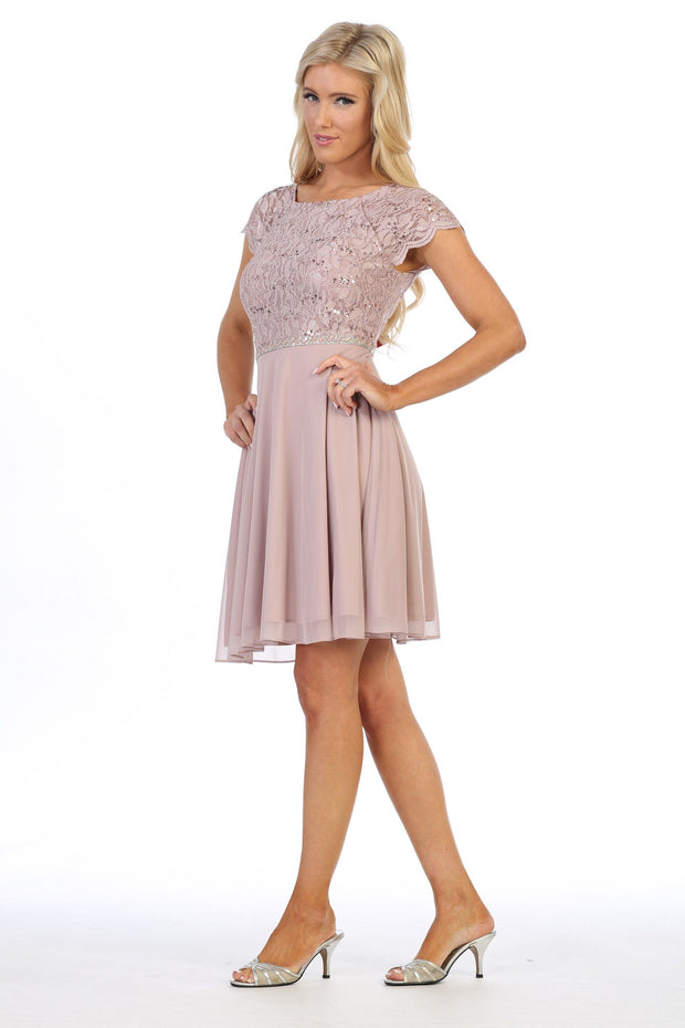Short Lace Bodice Dress with Short Sleeves by Celavie 6394S-Short Cocktail Dresses-ABC Fashion