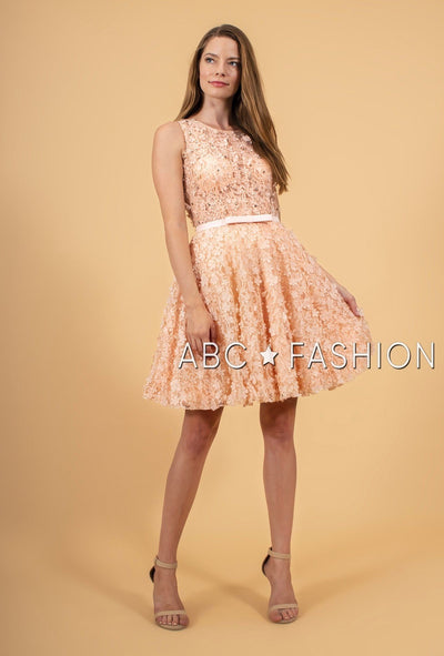 Short Lace Dress with 3D Floral Appliques by Elizabeth K GS1604-Short Cocktail Dresses-ABC Fashion
