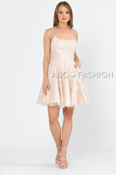 Short Lace Dress with Crisscross Open Back by Poly USA 8388-Short Cocktail Dresses-ABC Fashion