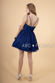 Short Lace Dress with Scalloped Hemline by Elizabeth K GS1602-Short Cocktail Dresses-ABC Fashion