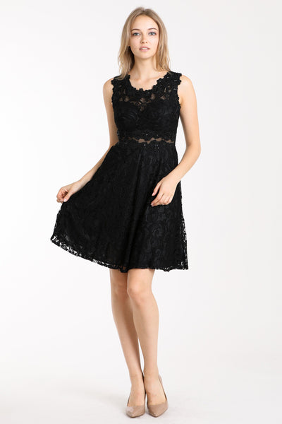 Short Lace Dress with Sheer Waist by Cinderella Divine CF175-Short Cocktail Dresses-ABC Fashion