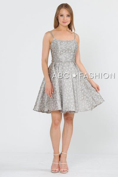 Short Metallic Brocade Dress with Cut Out Back by Poly USA 8364-Short Cocktail Dresses-ABC Fashion