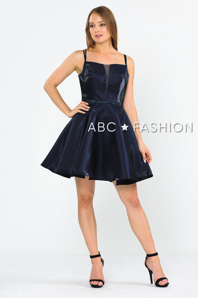 Short Metallic Dress with Illusion Cutout by Poly USA 8447-Short Cocktail Dresses-ABC Fashion