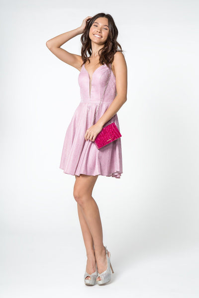 Short Metallic Dress with Illusion V-Neckline by Elizabeth K GS2839-Short Cocktail Dresses-ABC Fashion