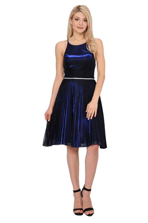 Short Metallic Dress with Strappy Open Back by Poly USA 8310-Short Cocktail Dresses-ABC Fashion