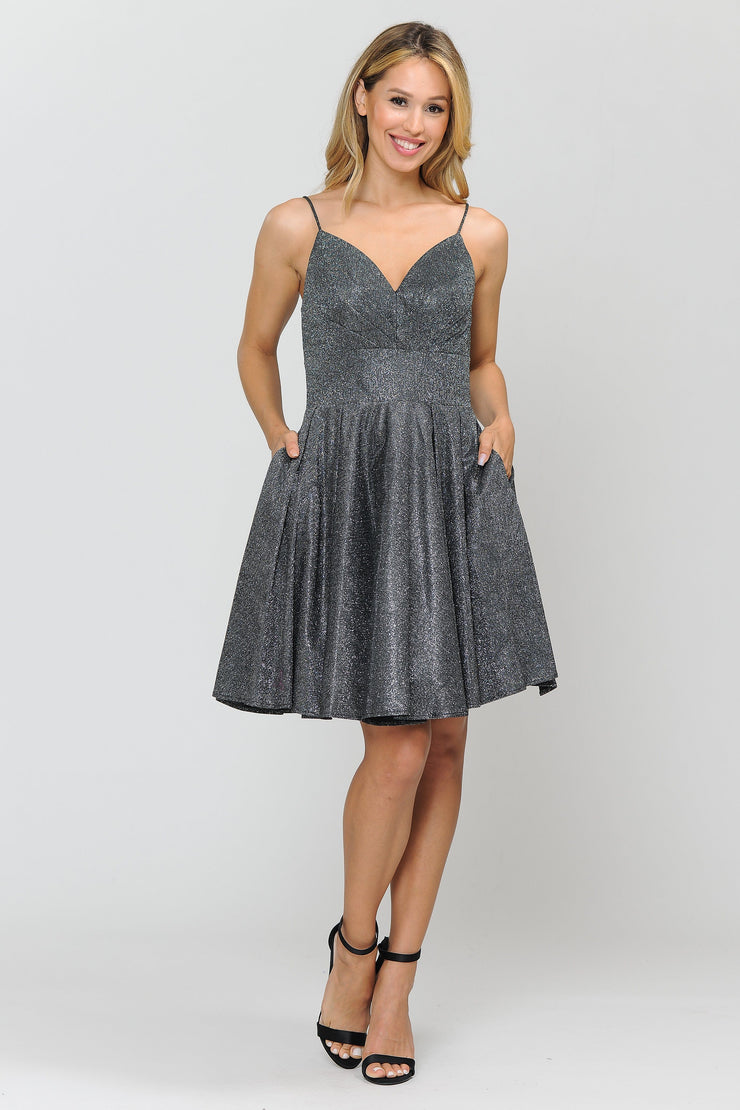 Short Metallic Glitter Dress with A-line Skirt by Poly USA 8530-Short Cocktail Dresses-ABC Fashion