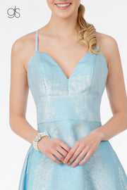 Short Metallic V-Neck Dress by Elizabeth K GS2838