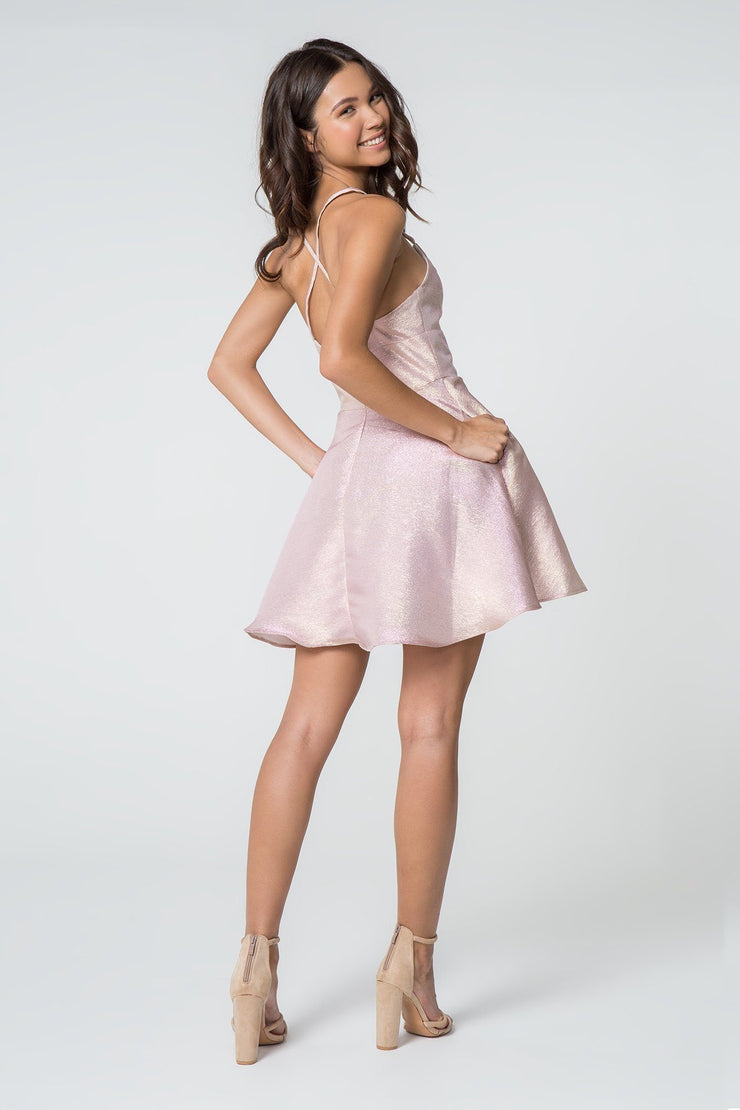Short Metallic V-Neck Dress by Elizabeth K GS2838-Short Cocktail Dresses-ABC Fashion