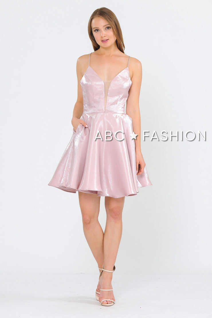 Short Metallic V-Neck Dress with Open Back by Poly USA 8306-Short Cocktail Dresses-ABC Fashion