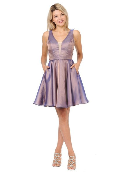 Short Metallic V-Neck Dress with Pockets by Poly USA 9018-Short Cocktail Dresses-ABC Fashion