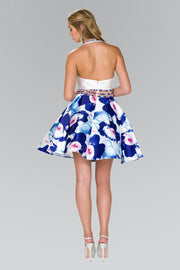Short Mock Two Piece Dress with Print Skirt by Elizabeth K GS2400-Short Cocktail Dresses-ABC Fashion