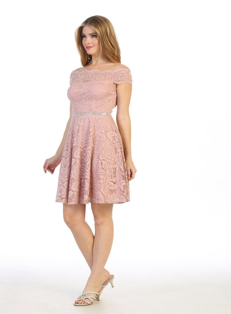 Short Off Shoulder Lace Dress with Beaded Waistband by Celavie 6457