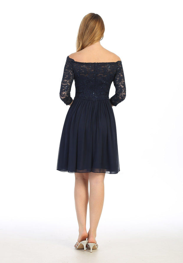 Short Off Shoulder Lace Dress with Long Sleeves by Celavie 6468S
