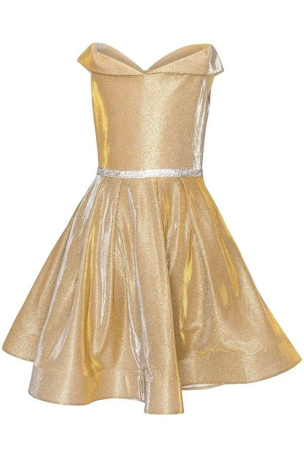Short Off Shoulder Metallic Glitter Dress by Cinderella Couture