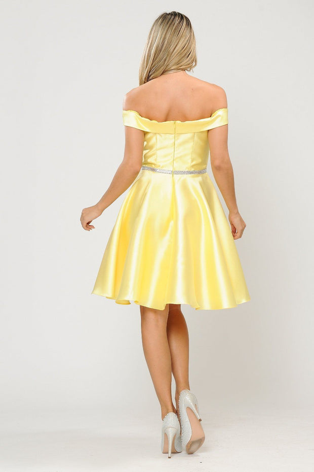 Short Off Shoulder Mikado Dress by Poly USA 7948