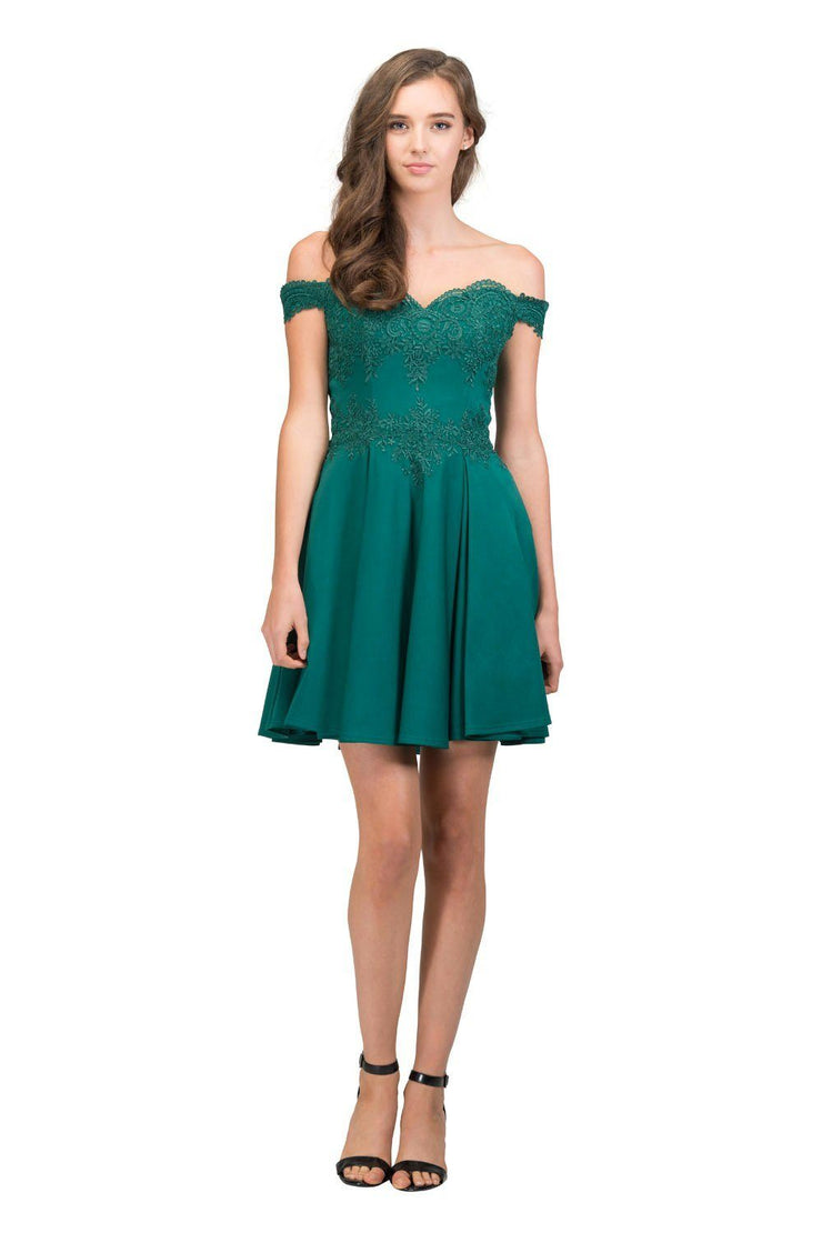Short Off the Shoulder Dress with Lace Bodice by Star Box 81015-Short Cocktail Dresses-ABC Fashion