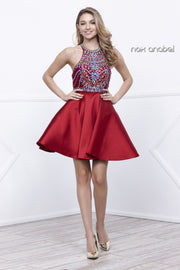 Short Racerback Dress with Beaded Bodice by Nox Anabel 6251-Short Cocktail Dresses-ABC Fashion