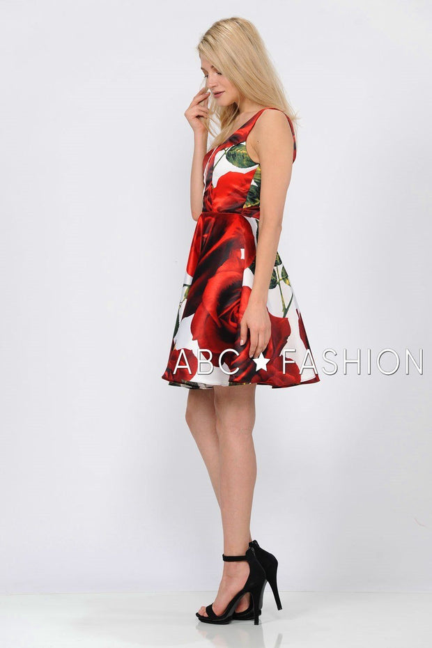 Short Red Floral Print Dress with Deep V-Neck by Poly USA 8287-Short Cocktail Dresses-ABC Fashion