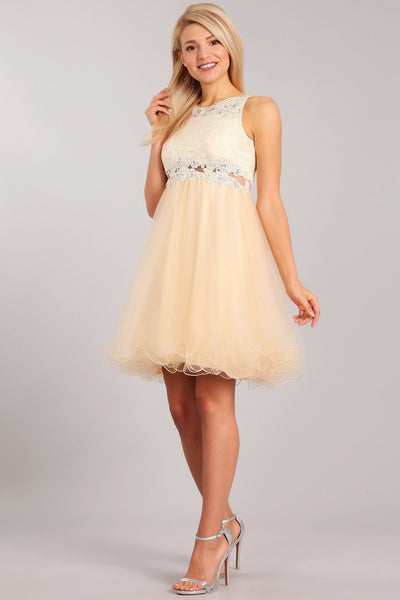 Short Ruffled Dress with Lace Bodice by Cinderella Couture 5010-Short Cocktail Dresses-ABC Fashion